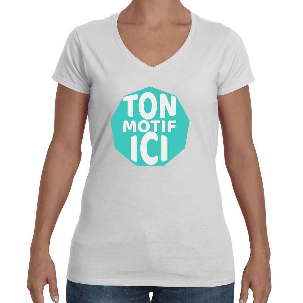 T-shirt Femme col V en strass